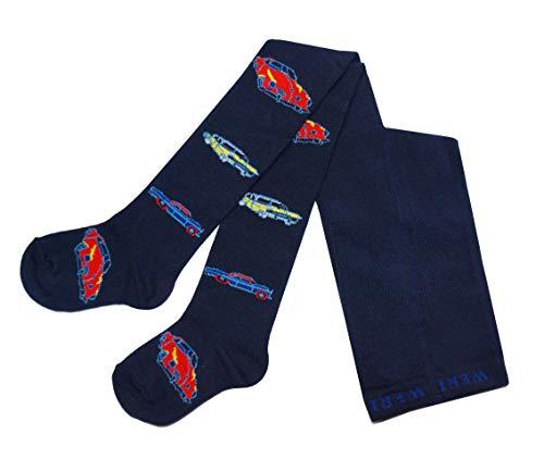 Weri Specials Bas de contention pour bébé et enfant en coton pour garçons, style vintage et voitures en coton, de taille 74 à 110-116 - Bleu - 9 mois