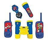 LEXIBOOK- Nintendo Super Mario - Juego Completo de Aventuras para Niños - Walkie-Talkies, Prismáticos, brújula, Linterna, Azul/Amarillo