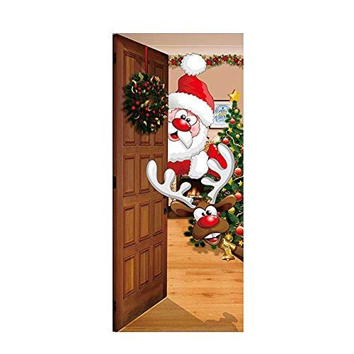 ALIKEEY ✿Joyeux NoëL Sticker Mural Porte Murale Amovible NoëL Home Merry Christmas Removable Door Mural Wall Sticker Xmas Home Decal