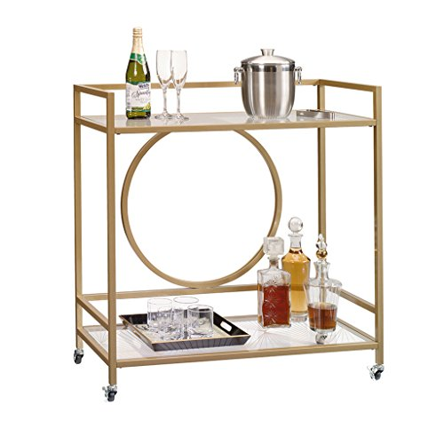 Sauder 417828 International Lux Bar Cart, Glass/Satin Gold Finish