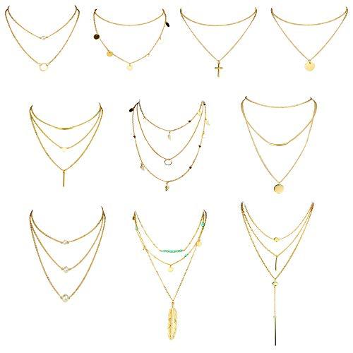 CASSIECA Collar de Gargantilla en Capas de 10 Piezas para Mujer niña