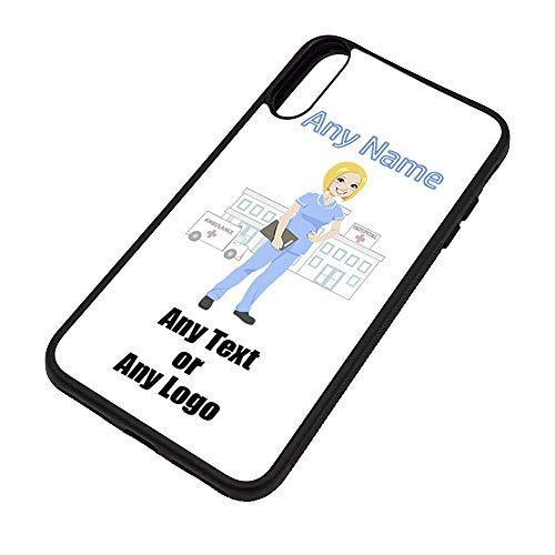 Gepersonaliseerd geschenk - Verpleegkundige Lichtblauwe Tuniek Blonde iPhone X Case (NHS Design) Elke Naam Boodschap Unieke Apple TPU Cover - Vrouwelijke Job Beroep Uniform Ziekenhuis Tandheelkundige Personeel Ambulance Rood Kruis GP