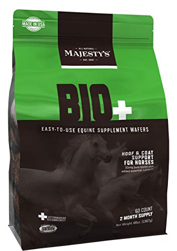Majesty's Biotin Wafers - Superior Horse / Equine Hoof and Coat Support Supplement - Copper, Zinc, Lysine, Methionine - 60 Count (2 Month Supply)