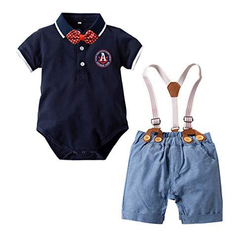 Julhold zomer kleine kinderen baby jongens slim fit heren korte mouwen vlinderdas katoen tops T-shirt + shorts set 2019