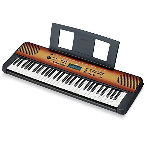 Yamaha PSRE360 61-Key Touch Sensitive Portable Keyboard with Power Supply, Maple...