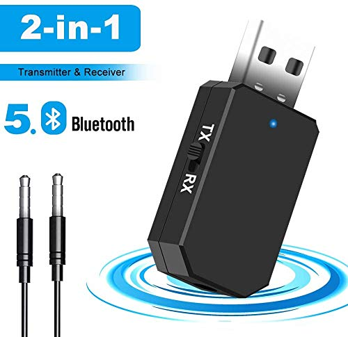 Adaptador Bluetooth 5.0, Transceptor de Audio Inalámbrico Bluetooth USB Transmisor Receptor 2 en 1 con Cable Aux Digital de 3.5 mm para TV/Altavoces/PC/Auriculares ,con modo de conmutación TX / RX