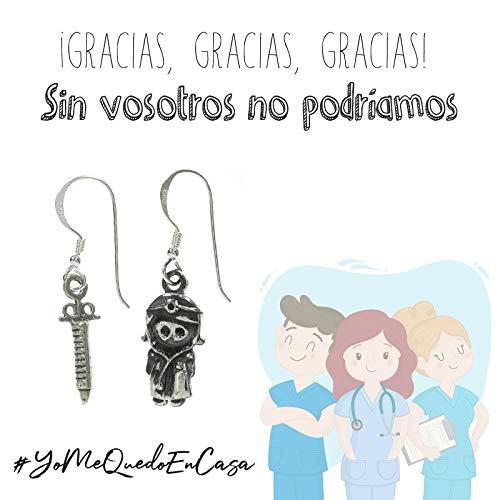 Pendientes asimétricos doctora y jeringa Plata de Ley con mensaje de agradecimiento para doctoras y enfermeras - Regalos coronavirus #YoMeQuedoEnCasa