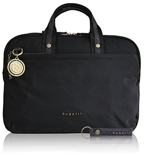 Bugatti Contratempo Women Aktentasche Damen aus Nylon mit Laptopfach – Businesstasche Frauen Laptoptasche – Arbeitstasche Aktentasche Medium Bürotasche, Schwarz