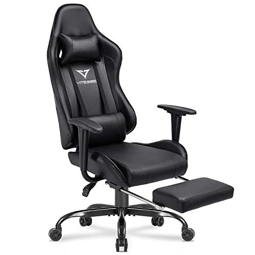 Vitesse Gaming Chair with Footrest Racing Style Computer Office Chair Adjustable Swivel Ergonomic PC Desk Bucket Seat Chair with Lumbar Support and Headrest (Purple)