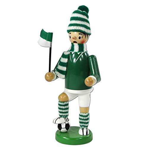 Dekohelden24 Räuchermann als Fussballer mit grün/weissem Outfit, ca. 20 cm