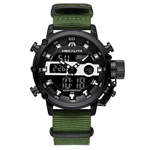 [メガリス]MEGALITH腕時計 メンズスポーツ軍事腕時計防水 クロノグラフ時計ブラック アナデジ多機能ミリタリーウオッチ ルミナス夜光 ストップウオッチ 日付表示 アラーム おしゃれ ビジネス カジュアル 男性腕時計ナイロン