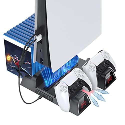 YDYBY Soporte Vertical para PS5 Base de Carga, Almacenamiento de Juegos, Base de Carga Multifuncional con Ventilador de Refrigeración