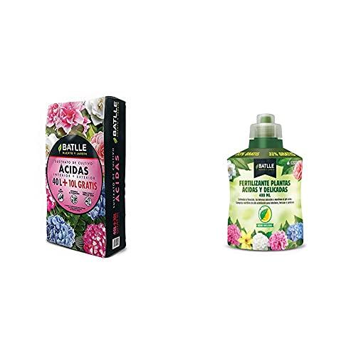Batlle Sustratos Sustrato Plantas Ácidas 50L + Abonos Fertilizante Plantas Acidas Botella...