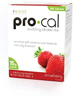 R-Kane Pro-Cal High Protein Shake and Pudding Mix, Weight Loss and Natural Energy Booster, Protein Powder Meal Replacement Shake - 7 Packets Per Box (Strawberry)