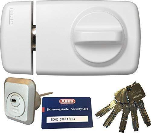 ABUS Tür-Zusatzschloss 7010 W weiß, EC660, Kastenschloss mit Drehknauf, mit 5 Schlüssel und Sicherungskarte, Ausführung EK (Metallausführung)