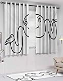 Tapesly Room-Darkening Curtains, Humor, Shading Treatment, W84 x L84 Inch, Thermal Insulated Treatment, Black and White, Whatever Guy Meme Confusion Gesture Label Creative Drawing Rage Makers Design,