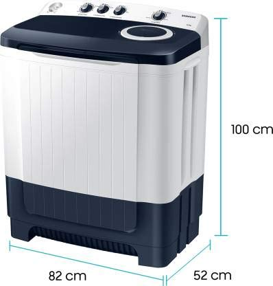 Samsung 8.5 Kg Semi-Automatic 5 Star Top Loading Washing Machine (WT85R4200LL/TL, Light Grey, Royal Blue Lid (Transparent), Hexa Storm Pulsator)