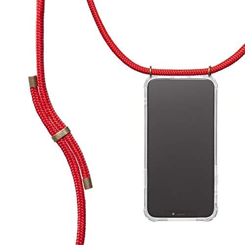 KNOK Handykette Kompatibel mitApple iPhone 6 / 6S- Silikon Hülle mit Band - Handyhülle für Smartphone zum Umhängen - Transparent Case mit Schnur - Schutzhülle mit Kordel in Rot