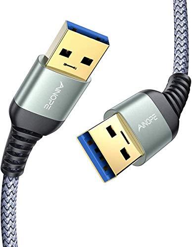 AINOPE USB A auf USB A Kabel [USB 3.0&2M] USB 3.0 A Stecker zu USB A Stecker Kabel Nylon Verbindungskabel für HDD DVD Drucker Kameras Festplattengehäusen Laptop