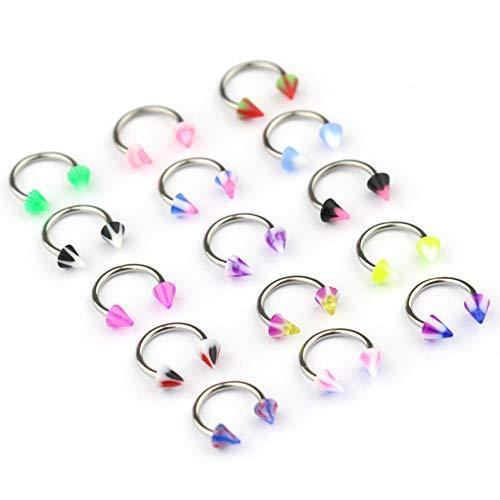 SMXGF 10Pcs / Set kleurrijke acryl Neuspiercings Ear Piercing Circular Barbell Ring Horseshoe Lip Labret wenkbrauw oor Piercings Body Jewelry (Color : Cone)