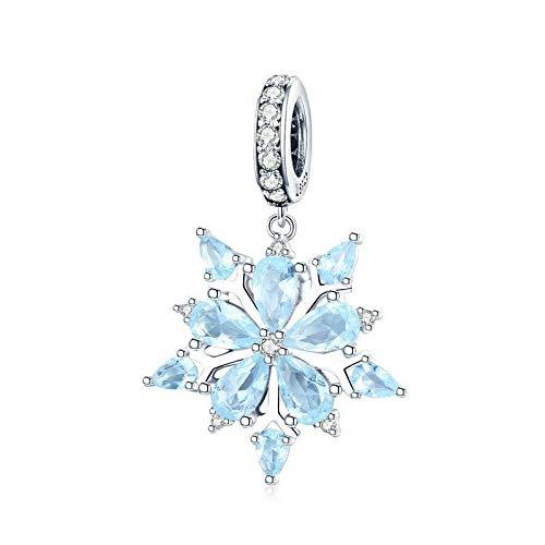 Angelazy Colgantes De Plata 925 para Mujer,Moda Cute Chainless Incrustaciones Blue Zircon Encante Forma De Copo De Nieve para Damas Accesorios Joyas Regalo De Cumpleaños Parte Accesorios