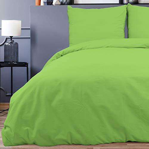 Style Heim 3 TLG. Bettwäsche, Renforcé-Baumwolle, Einfarbig Uni Reißverschuss, 200x220, Grün