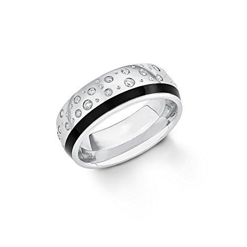s.Oliver Damen-Ring Emailliert Edelstahl Zirkonia weiß Gr. 58 (18.5)-2012488