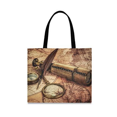 Draag de grote capaciteit mode handtas boodschappentas casual telescopisch kompas vergrootglas oude wereldkaart herbruikbaar.