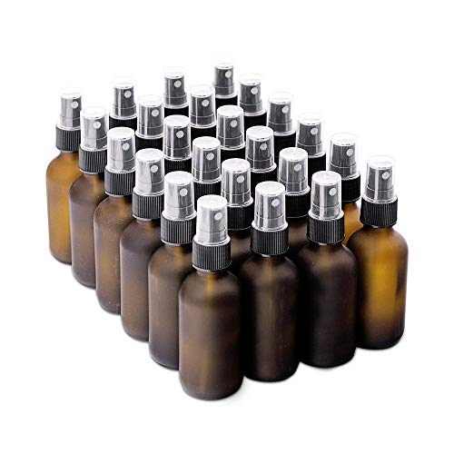 7 Colors Available - The Bottle Depot Bulk 24 Pack 2 oz Amber Glass Bottles With Spray; Wholesale Quantity for Essential Oils, Serums with Pretty Frosted Finish to Protect and Preserve Quality