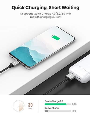 UGREEN USB C Kabel Ladekabel USB Typ C Schnellladekabel kompatibel mit Samsung S10 S9 S8 A7 2017 M20, Huawei P30 lite P9, Sony Xperia XZ, HTC U11, Nokia 7 Plus, Xiaomi Mi 8 Mi 9 usw. Aluminium (0.5m)
