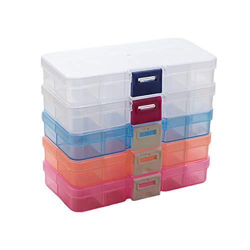 5Pcs Caja Compartimentos de Plástico, Caja de Almacenamiento Extraíble, Caja con Separadores Plastico para Pendientes, Anillos y Otras Mini Mercancía(Azul, Rosa, Hebilla Roja, Naranja, Hebilla Azul)