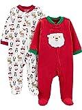 Simple Joys by Carter's Baby 2-Pack Christmas Fleece Footed Sleep and Play, Santa, Newborn