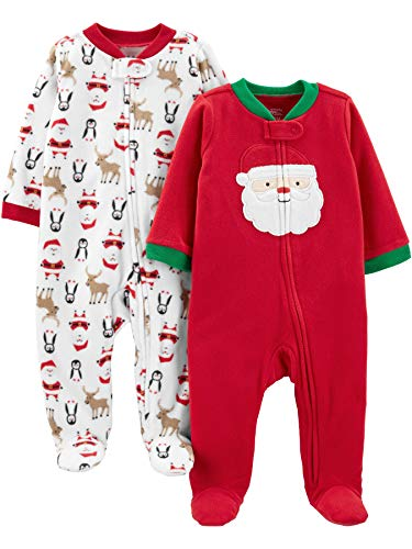 Simple Joys by Carter's Baby 2-Pack Christmas Fleece Footed Sleep and Play, Santa, Newborn