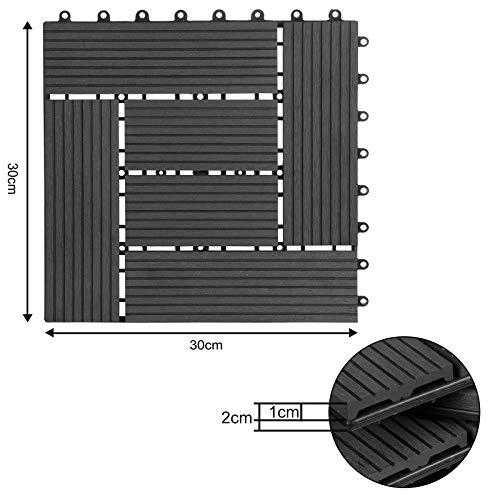 WOLTU 11 Stück WPC Terrassenfliesen Holzoptik Anthrazit, Premium Fliese Terrassendielen Bodenfliese mit klicksystem, Klickfliese Bodenbelag (1 m²) - 8