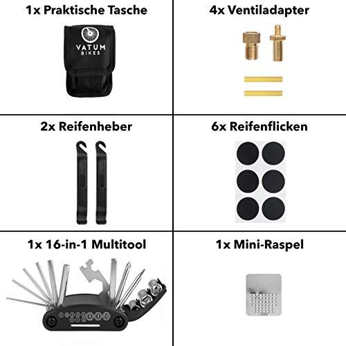 Fahrradwerkzeug – Praktisches Fahrrad Werkzeug- und Reparatur Set – Flickzeug mit 16-in-1 Multitool, Ventiladapter & Aufbewahrungstasche – Fahrradflickzeug I Reparaturset I Reifenflickzeug - 3