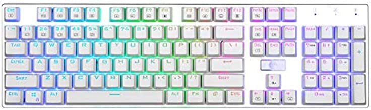 HUO JI E-Yooso Z-88 RGB Mechanical Gaming Keyboard, Programmable RGB Backlit, Blue Switch - Clicky, Water Resistant, 104 Keys Anti-Ghosting for Mac PC, Silver+White