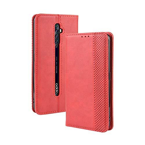 LAGUI Kompatible für Oppo Reno2 Z Hülle, Leder Flip Hülle Schutzhülle für Handy mit Kartenfach Stand & Magnet Funktion als Brieftasche, rot