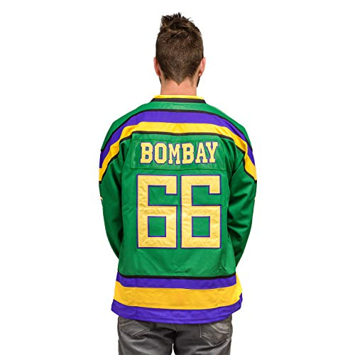 Adult Mighty Ducks Hockey Green Jersey (Medium, Bombay #66)
