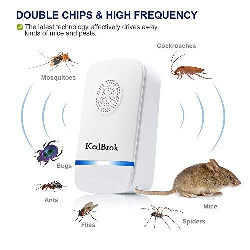 KedBrok Repulsif Moustique, 4 Pack Répulsif Antiparasitaire à Ultrasons Électronique Plug-in Pest...