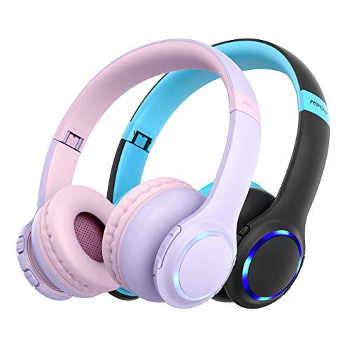 Kinder Kopfhörer Bluetooth, Mpow CH9 kopfhörer Kinder, Faltbar, einstellbar, 85dB Lautstärke begrenzt, AUX 3,5 mm Klinke, eingebautes Mikrofon, LED-Licht (Blau + Pink)