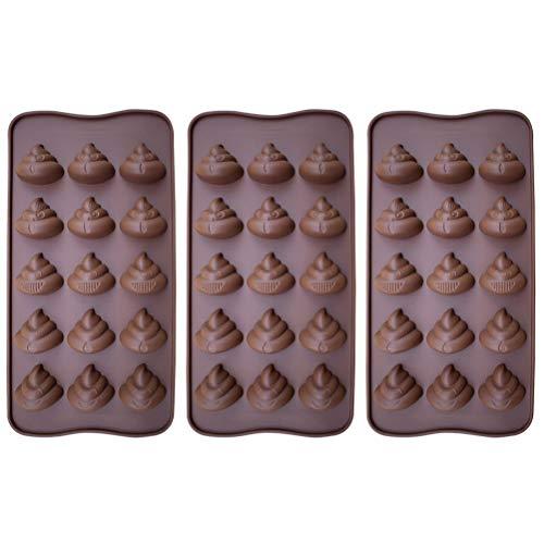 BESTONZON 3 stücke 15 Auch Nette Lustige Poop Süßigkeiten Formen Silikon Backformen Hocker Eiswürfel Candy Dessert Jello Form