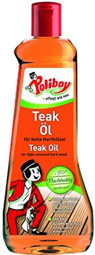 Poliboy - Teak Öl für helle Harthölzer - Intensive Farbauffrischung - reinigt, pflegt und schützt - 500 ml - Made in Germany