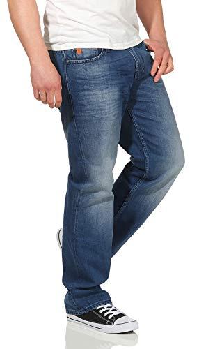 M.O.D Herren Jeans Hose Thomas Comfort Fit Straight Cut Papeete Blue 33/32