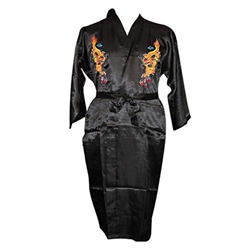 Black Sugar - Kimono Largo para Hombre, Seda Tradicional Japonesa, diseño de dragón Oriental Yukata Nippon con cinturón, Disfraz Cosplay M(38) L(40) XL(42) XXL (44) 3XL (46) Negro 42 ES/XXL