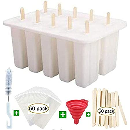Popsicle Molds ICE Pop Maker,10 Cavity Homemade ICE Pop Molds Food Grade Silicone BPA-Free Popsicle Mold Popsickle Mold Set with Popsicle Sticks Popsicle Bags A Funnel,Cleaning Brush Popcycle mold