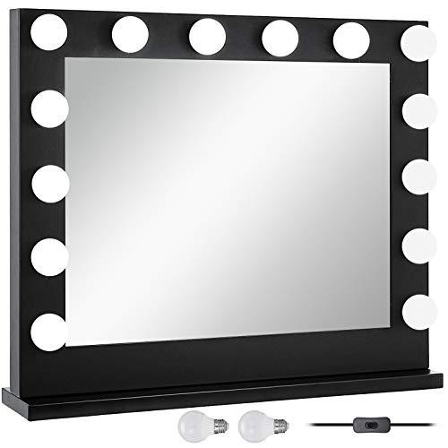 Bisujerro Espejo de Maquillaje con Luz 80x65cm Espejo de Maquillaje con 14 Luces Led Espejo para Maquillaje con Estilo de Hollywood Led Vanity Makeup Mirror (80x65cm 14 Luces Negro)