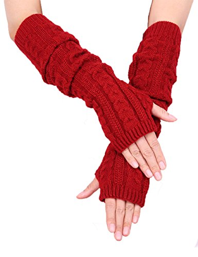 Colorful House Fingerless Thumb Hole Long Gloves Mittens Winter Arm Warmer (19 Inch, Dark Red (New Pack))