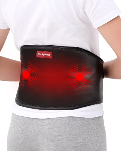Heating Pad with Massager, Comfytemp Heating Pad for Back Pain Relief with Strap (Up to 55') for...