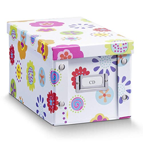 Zeller 17850 Caja de almacenaje de cartón Multicolor (Blumen) 16.5 x 28 x 15 cm