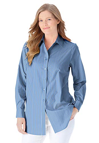 Womens Plus Size Long Sleeve Oxford Shirts